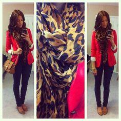red blazer. leopard scarf. tan flats black/grey pants.