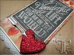 """Tim Holtz 12 tags of 2014 (February).  Love the """"chalkboard"""" technique.  Gotta try this one."""