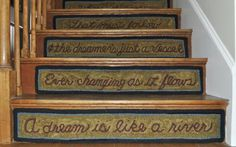 Primitive Rug Hooking Websites - love this stair step display Stair Steps, Stair Treads, Painted Stair Risers, Cottage Style Decor, Rug Inspiration, Hand Hooked Rugs, Penny Rugs, Dream Home Design, Rug Hooking