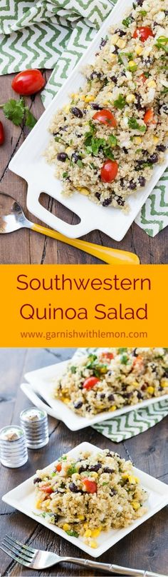Southwestern Quinoa Salad is the perfect base for a healthy school lunch. It's packed with protein from the black beans and quinoa along with a veggie fix of corn and diced red pepper!
