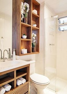 Re-organize your towels and toiletries during your next round of spring cleaning. Check out some of the best small bathroom storage ideas for Bathroom Layout, Bathroom Storage, Small Bathroom, Bathroom Ideas, Bathroom Makeovers, Remodel Bathroom, Bathroom Shelves, Closet Storage, Bathroom Vanities