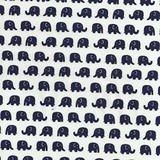 www.elephantinmyhandbag.com #Navy #Blue #Elephants on #Cream #Cotton #Fabric