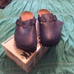 Blue Birkenstock Clogs Cobalt  leather Birkenstock women's Nashua Birko-Flor size 38 Birkenstock Shoes Mules & Clogs