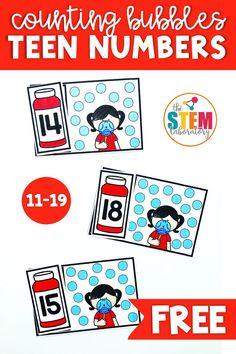 Bubble Teen Numbers - The Stem Laboratory Free Math Games, Kindergarten Math Games, Preschool Math, Math Classroom, Teaching Math, Math Activities, Counting Activities, Math Math, Teaching Resources