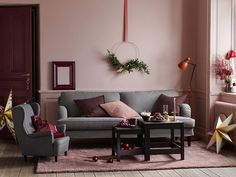〚 Beautiful pink Christmas by Ikea 〛 ◾ Photos ◾Ideas◾ Design Apartment Living, Living Room, Pink Couch, Christmas Interiors, Large Table, Joy To The World, Pink Christmas, Small Apartments, Beautiful Interiors