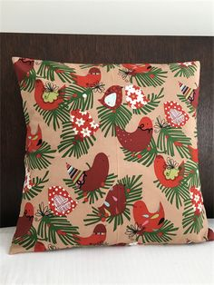 Christmas Cushion cover. Handmade in 100% cotton Brown Starling Xmas fabric.