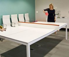 Put your downtime at work to good use by sharpening your table tennis skills on the ping pong conference table. Capable of transforming in minutes, It's the ultimate office furniture for companies that believe in working hard and playing harder.
