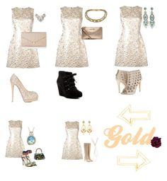 """""""Same gold dress 👗 different looks"""" by karabear3256 ❤ liked on Polyvore featuring Dolce&Gabbana, Giuseppe Zanotti, Accessorize, Alexander McQueen, Via Spiga, MICHAEL Michael Kors, Alice + Olivia, Miguel Ases, Christian Louboutin and Lord & Taylor"""