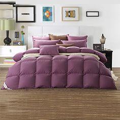 Snowman Bedding King Size Goose Down Comforter,Baffle Box Construction,65oz,Purple