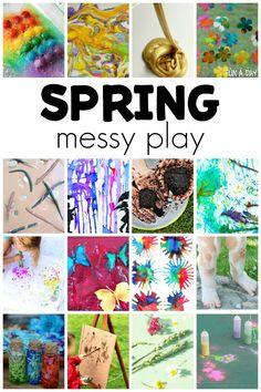Over 30 messy play ideas for kids to try this spring. I am in love with the spring art and sensory messy play activities here! These can be done outside in the warm spring weather or inside when it's raining. Seasons Activities, Early Learning Activities, Spring Activities, Preschool Activities, Outdoor Activities, Warm Spring, Spring Weather, Spring Art, Messy Art