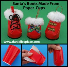 Boots Christmas Ornament Craft Santa's Boots Paper Cup Christmas Ornament Craft for Kids www.daniellesplace.comWhat you will need: Nine-ounce Red Paper Party Cups Pencil Scissors White Fake Fur Hole Punch Low Temperature Glue Gun Card stock (heavy paper) Black Acrylic Paint Christmas Trim Ribbon and Decorative Items How to Make the Santa Boots Ornaments from Paper Cups: 1. Print out the Boot Patterns on to card stock and cut along the dark lines. Large Boot Pattern Small Boot Pattern 2. Cut…