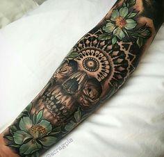 Tattoo Skull Flower Green Tiki