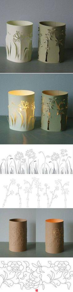 2 paper cutting lanterns & a paper piercing lantern. Free templates.