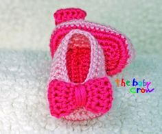 Crochet Baby Booties - Pink on Pink - Baby Girl Booties -  Ballet Slippers - Bow Shoes