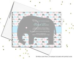 Elephant baby shower invites neutral in pink and blue - printable or printed - WLP00735 by Willow Lane Prints on Etsy