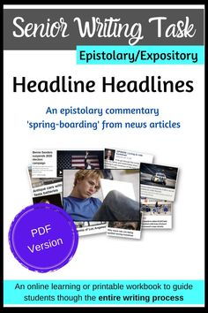 Senior Narrative Writing Task - Headline Headlines (PDF only) Narrative Writing, Writing Skills, Writing Activities, Learning Resources, Opinion Piece, Teacher Hacks, Critical Thinking, Time Management, Teaching