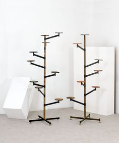 Enameled Metal and Brass Adjustable Plant Stands, 1950s.