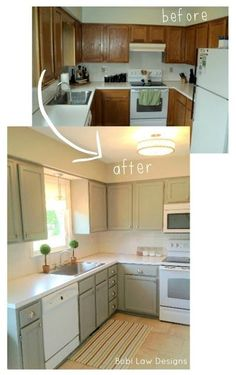 Bobi Law Designs: Before & After... Love the cabinet color!