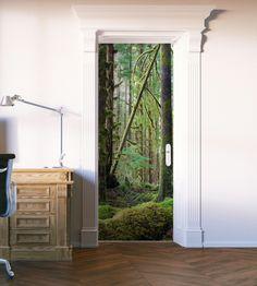 Deep Forest Green Moss Door Mural Room Wall Painting, Custom Wall Murals, Vinyl Doors, Door Murals, Door Stickers, Deep Forest, Bath Decor, Metallic Paint, Guest Room