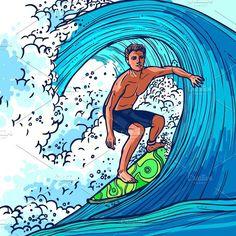 Surfer man on surfboard on wave. Doodle
