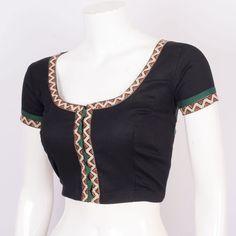 Hand Block Printed Cotton Kalamkari Blouse With Lining 10017975 Size - 36