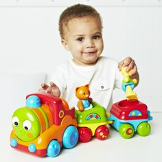 This ELC& Toybox train play set features a smiling car engine that plays 4 melodies and makes train whistle sound, 2 cars, and 2 animal passengers. Educational Toys For Toddlers, Kids Toys, Musical Toys, Electronic Toys, Toddler Play, Train Set, Cute Toys, Toy Boxes, Cool Gifts