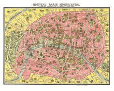 Antique PARIS MAP Old Pictorial Map of Paris by DigitalAlice