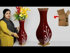 Paper Board flower vase // Corner Flower vase making with paper Board //. Paper Flower Vase, Flower Vase Making, Flower Vases, Flower Pots, Paper Vase, Cardboard Tree, Cardboard Crafts, Flower Crafts, Diy Flowers