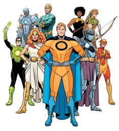 """Earth 36 Home to pastiches of Big Bang Comics characters acting as Justice League analogues joined together as the superteam Justice 9, including Optiman(A parallel version of Superman who was slaughtered and devoured by Superdoom, a pastiche of Ultiman), Iron Knight(A parallel Batman and pastiche of Knight Watchman), the wielder of the """"power torch"""" Flashlight(Green Lantern and The Beacon) Red Racer(The Flash and The Blitz) and War-Woman (Wonder Woman and Venus). Big Bang Comics were made…"""