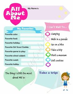 All About Me Daisy printable sheet
