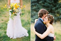 Her bouquet is driving me crazy in love.  I love the natural sprawling and stunning yellows!