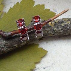Granatquarz, rot, Creolen, Ohrringe, Silber plattiert in Uhren & Schmuck…