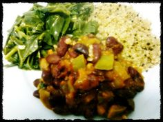 Quinoa com couve e feijão-vermelho