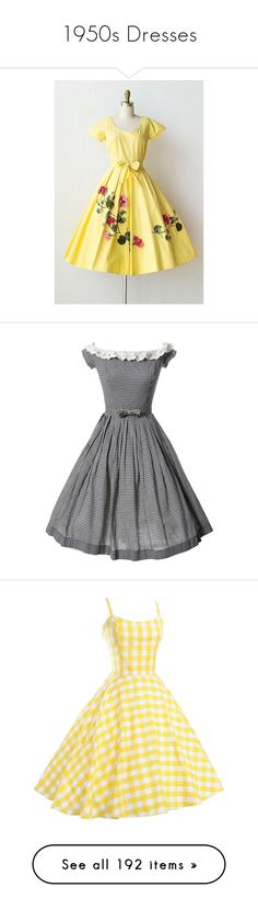 """1950s Dresses"" by mickjaggerismydrug ❤ liked on Polyvore featuring dresses, dresses 3, black and white dress, black white dress, lace trim dress, gingham dress, vintage gingham dress, yellow vintage dress, vintage cocktail dresses and vintage rockabilly dresses"