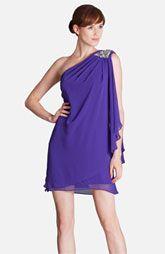 JS Boutique Embellished One Shoulder Draped Chiffon Dress