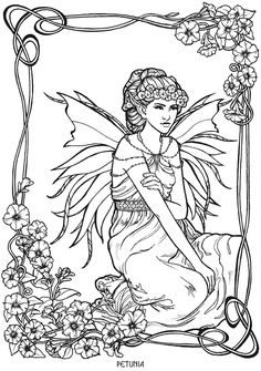 petunia fairy fae fantasy myth mythical mystical legend elf wings fantasy elves faries coloring pages colouring adult detailed advanced printable kleuren