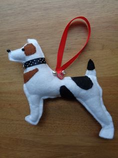 Hand made felt Tri Colour Jack Russell Terrier dog hanging decoration by CraftyBunnyDog on Etsy