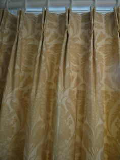 """Curtains in Lewis & Wood """"Venetian Damask"""" - hand made by Victoria Clark Interiors.   Double pleats, pleated to pattern."""