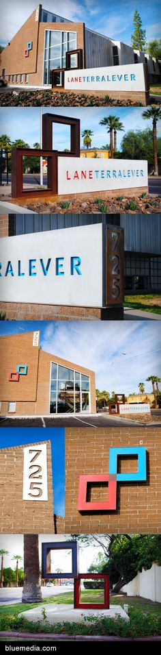 LaneTerralever custom monument sign, illuminated wall sign, and sculpture outside their downtown Phoenix headquarters, created by bluemedia