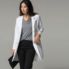 The Signature Lab Coat: a tailored, runway-inspired coat crafted from the finest stretch fabrics. Tapered at the waist for a close fit, this design features signature Jaanuu gold details. Poses Modelo, White Coat Ceremony, Doctor Coat, White Scrubs, Scrubs Outfit, Signature, Outfit Trends, How To Wear, Clothes