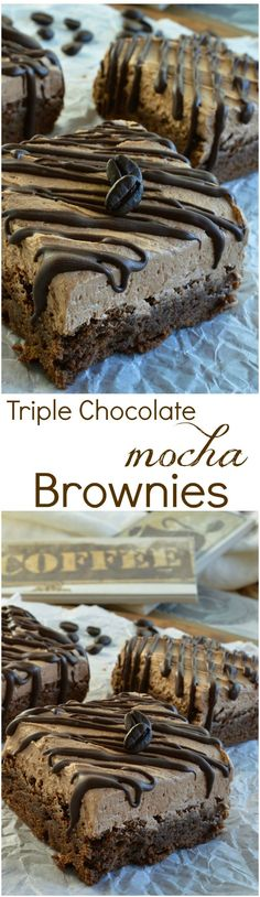 Triple Chocolate Mocha Brownies are the perfect chocolate dessert! Fudgy chocolate brownies spiked with espresso powder then topped with mocha chocolate buttercream frosting and dark chocolate drizzle! Great for anyone that loves chocolate and coffee! #sponsored