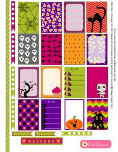 Free Printable Halloween Stickers for Happy Planner
