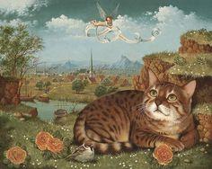 mimi vang olsen   yana movchan still life with cherub cat and bird nicola