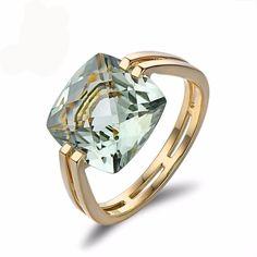 Square Cushion Cut Light Green Amethyst Gold Ring