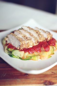 Chicken Parmesan with Zucchini Pasta, I stumbled upon this site looking for healthy alternatives to those foods you can't really give up.