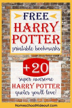 Free printable Harry Potter bookmark + the 20 best HP quotes!