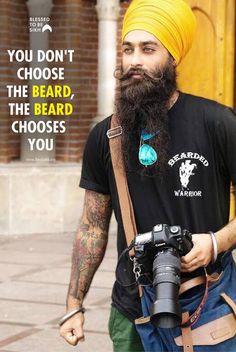 You don't choose the beard, the BEARD chooses you Dhan Sikhi! अनुवाद देखें — with Tarun Preet Singh, Rohit Sharma and Harpreet Kaur. Guru Granth Sahib Quotes, Shri Guru Granth Sahib, Sikh Quotes, Gurbani Quotes, Bearded Men, Hairy Men, Bad Beards, Kurta Pajama Men, Beard Quotes