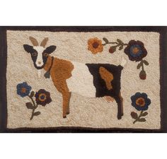 GOATS & FLOWERS by Fredericksburg Rugs - Pattern Only or Complete Rug Hooking Kit