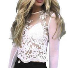 Sexy T Shirt Mesh Lace T-Shirts Long Sleeve Embroidery Crop Top Tee Summer Women