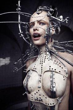 designed by Katarzyna Konieczka Cyberpunk / Transhumanism / Futuristic / Cyborg / Science-Fiction Avantgarde Fashion, Look Fashion, Fashion Art, Crazy Fashion, Fetish Fashion, Gothic Fashion, Unique Fashion, Womens Fashion, Steampunk